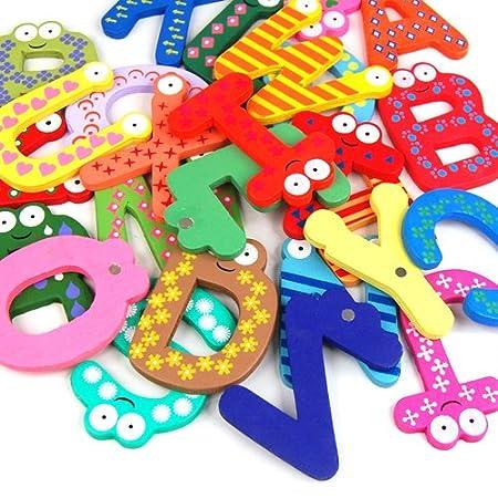 26 pi/èces enfants apprenant t?t aimant de r/éfrig/érateur en bois dr?le lettres alphabet alphabet de A /à Z