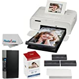 """Canon SELPHY CP1200 Wireless Compact Photo Printer (White) + KP-108IN Photo Paper & Ink Kit + Itoya Slim Profolio 4 x 6"""" Photo Album (240 Photos) + Photo4Less Cleaning Cloth - Deluxe Printing Bundle"""