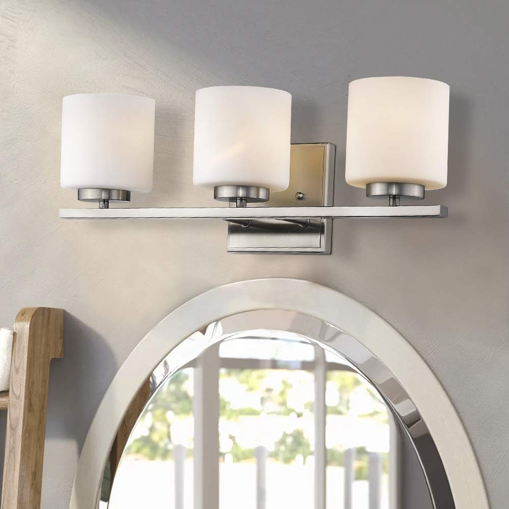 Emliviar 3-Light Bathroom Vanity Light Fixture, Brushed Nickel Finish with White Frosted Glass Shade, 21002-3B by EMLIVIAR (Image #2)