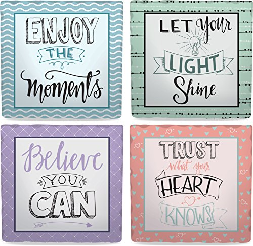 Inspirational Coasters - Angelstar 13421 Inspiring Wisdom Assorted Square Absorbent Coasters (Set of 4), 4