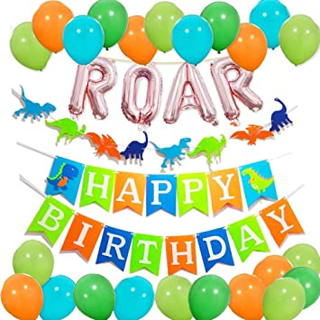 Toupons Roar Birthday Party Decorations Boy Happy Banner Colorful Latex Balloons For