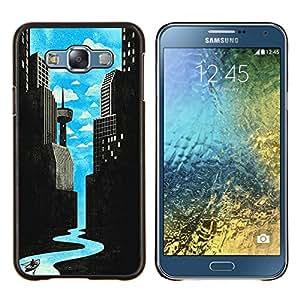 Arte Río de ciencia ficción Ciudad Deco Libertad- Metal de aluminio y de plástico duro Caja del teléfono - Negro - Samsung Galaxy E7 / SM-E700