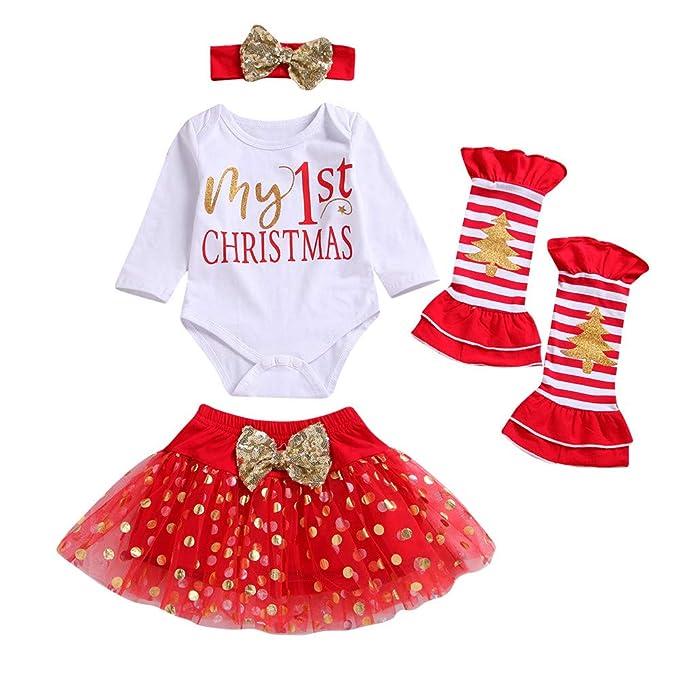 Disfraz Navidad Bebe Niña MY 1st Christmas Monos Tops + Tutu Falda + Diadema + Calcetines Navidad Conjunto Ropa para Recién Nacido Bebé 0-24 Meses
