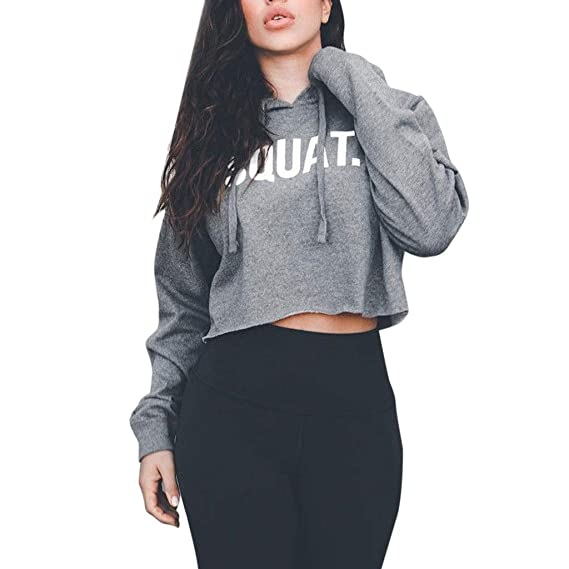 1b6004affa5cb SoniaAngel Women Fashion Active Long Sleeve Crop Tops Letter Print Loose  Hooded Girl T-Shirt