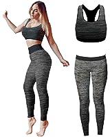 Bonjour® - Set di canotta e leggings, da donna, elasticizzati, abbigliamento sportivo, set per yoga e palestra