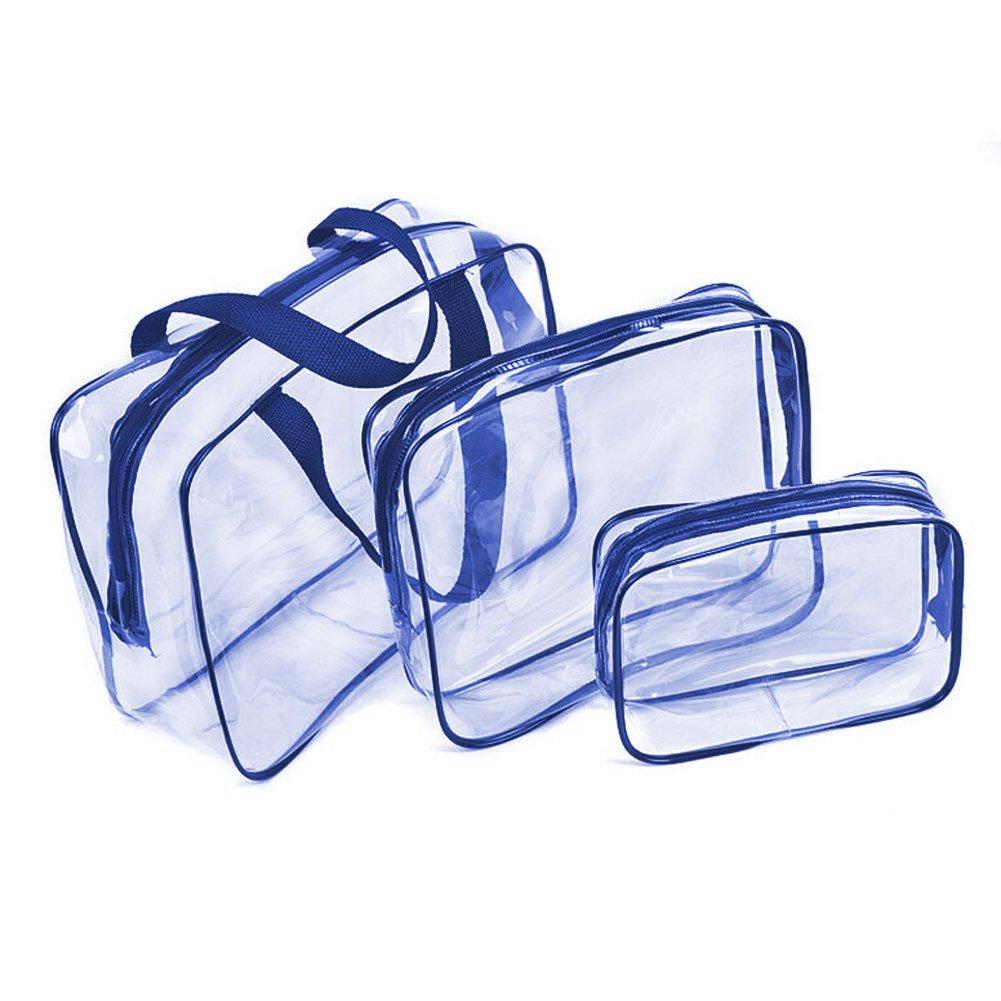 Trousse de Toilette Transparente ,Set de Voyage dans Bagages à Main, Sac Cosmétiques pour Hommes et Femmes 3 en 1 Cadeaux Sacs de maquillage et étuis Sac en plastique Sac de voyage en PVC (Bleu) clear bag-blue