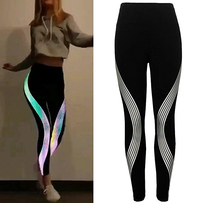 9970b07522ffb Women Yoga Leggings High Waisted Sport Pants Cuekondy Neon Rainbow Striped  Stretch Fitness Workout Cropped Trousers