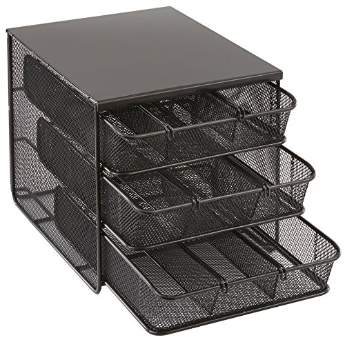 - Safco Products 3275BL Onyx Mesh Hospitality Organizer, 3 Drawer, Black