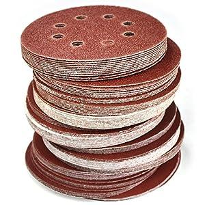 120-Piece Great Value,Sandpaper discs,sanding disc,sandpaper disc Sandpaper,5 Inch 8 Hole Hook and Loop Sandpaper Sanding Disc Sandpaper Sanding Sheets Assorted 40 60 80 120 150 240 Grits Sander