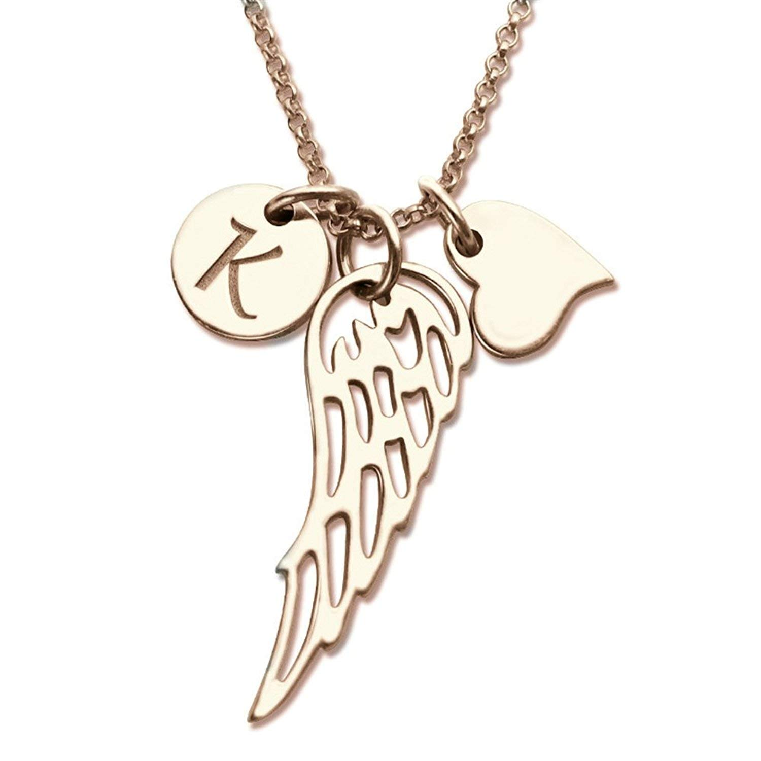 2261357df0286 Amazon.com: Amandasessom Love Heart Angel Wing Necklace Personalized ...