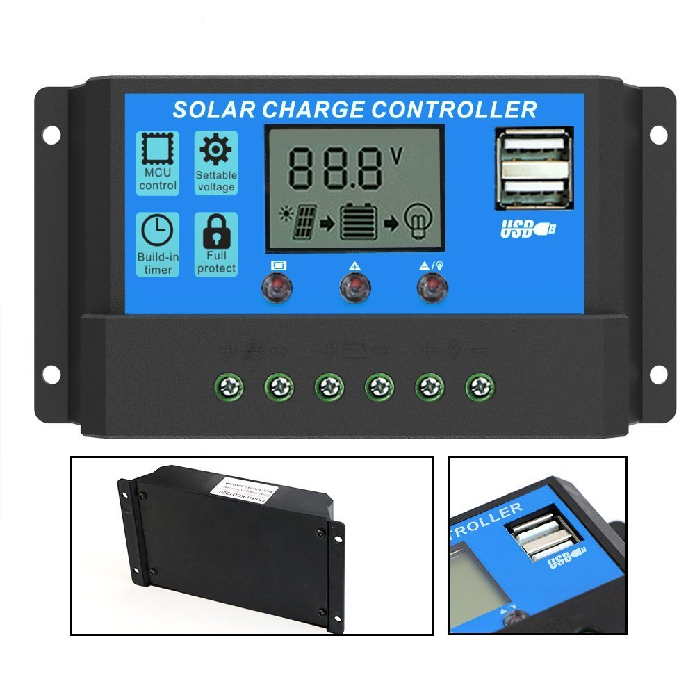 Qinaurora Solar Charge Controller Intelligent Charge Regulator with Dual USB 5V Output for Solar Panel Battery Lamp Overload Protection (20A)