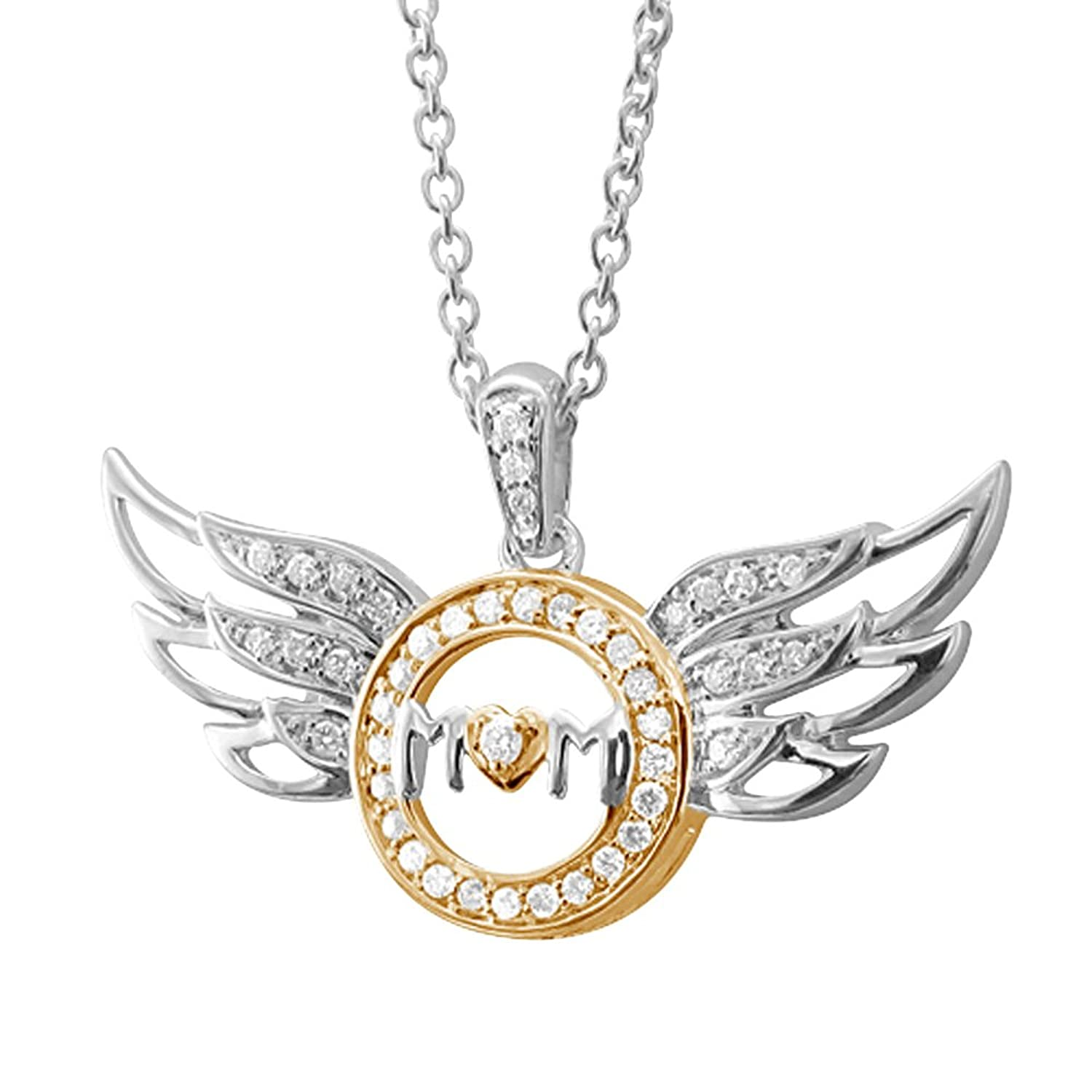 Sterling Silver Heart Love Angel Wing Mothers Day Diamond Pendant Necklace (1/4 carat)
