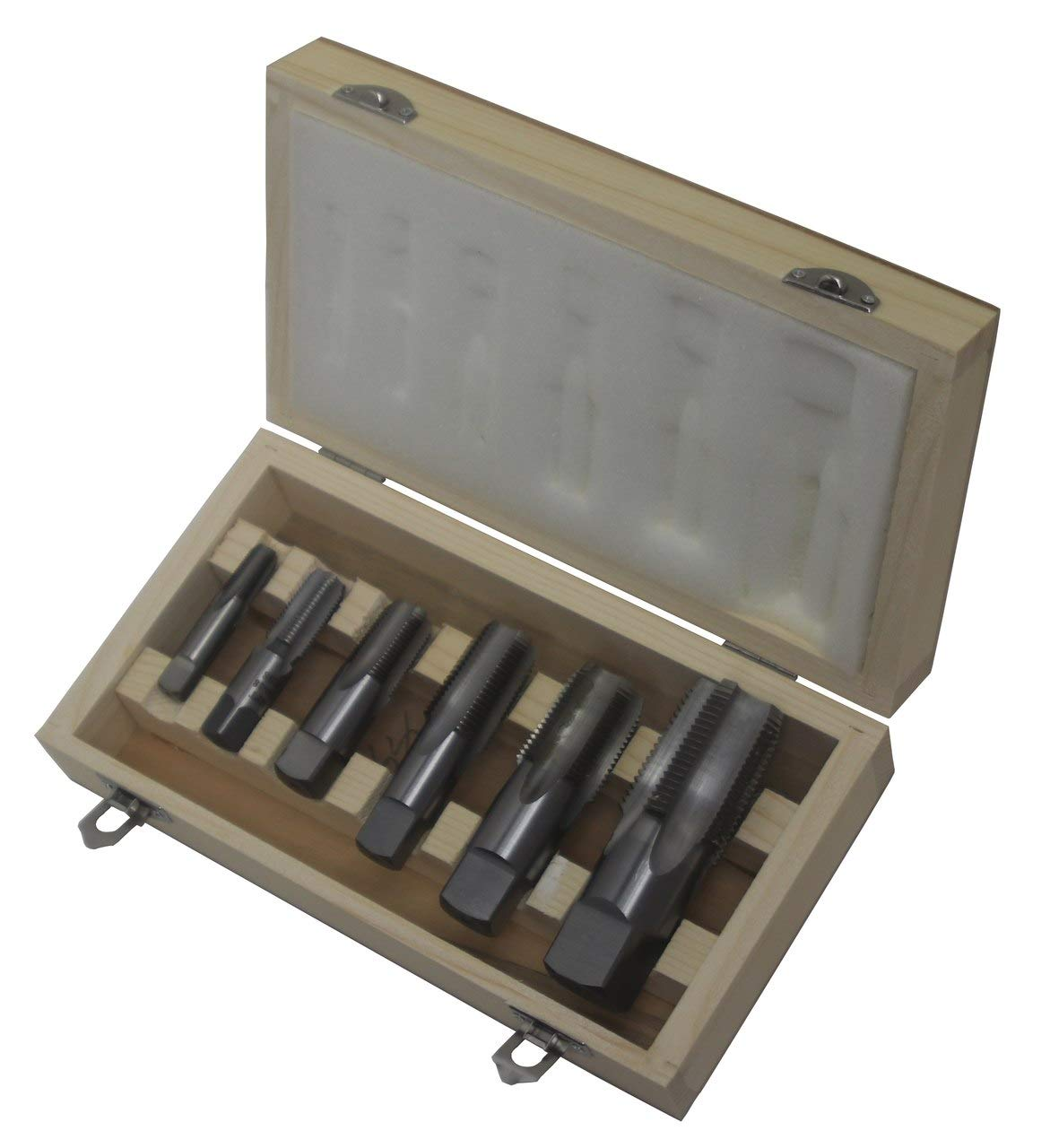 Drill America 6 Piece NPT Pipe Tap, Carbon Steel, DWTPT Series Set 1/4'', 3/8'', 1/2'', 3/4'', 1'' and 1-1/4'' in Wooden Case
