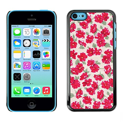 TopCaseStore / caoutchouc Hard Case Housse de protection la Peau - Green Beige Floral Flowers Pattern - Apple iPhone 5C