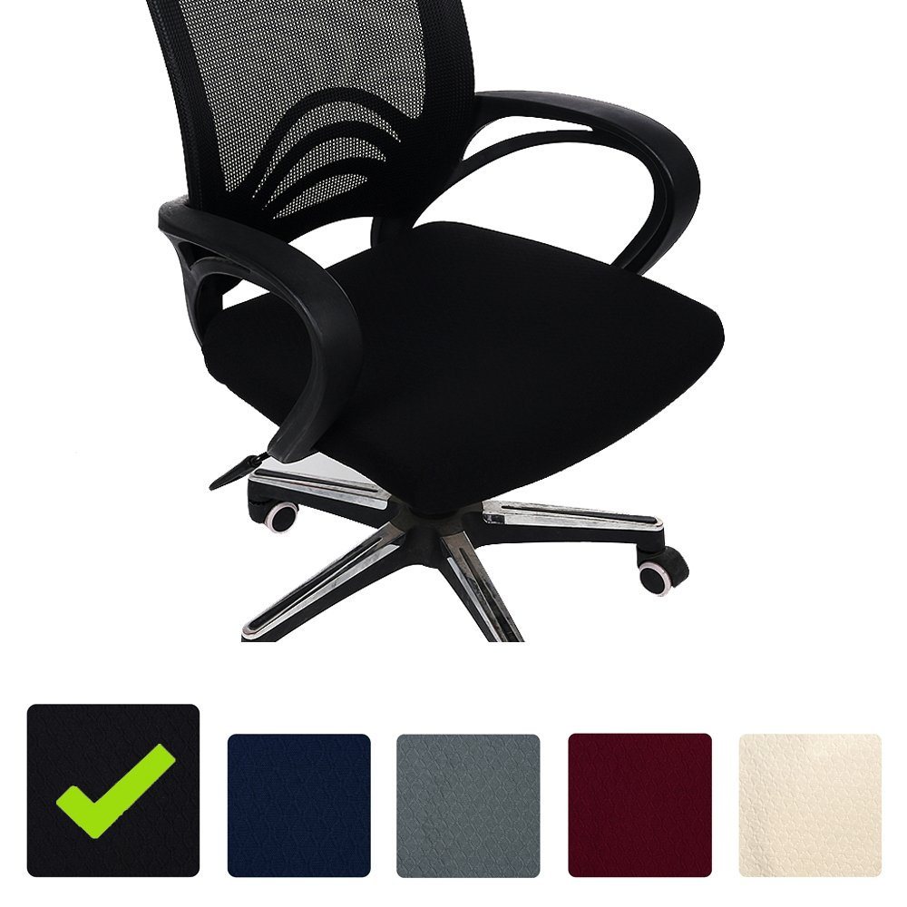 Stretch Chair Seat Covers for Office Computer Chair, Beige Set of 2 Jacquard Desk Chair Seat Cushion Protectors Chair Slipcovers Smiry