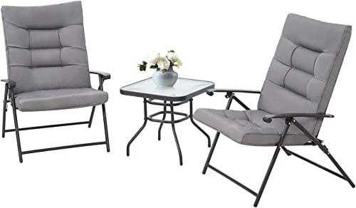 Oakmont 3-Piece Patio Padded Folding Chair Set Adjustable Reclining Lounge Chair