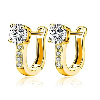 0266b2ec5 Amazon.com: 18k Yellow Gold Plated CZ Stud Earrings Huggie U-Hoop Earrings  for Girls Women: Jewelry