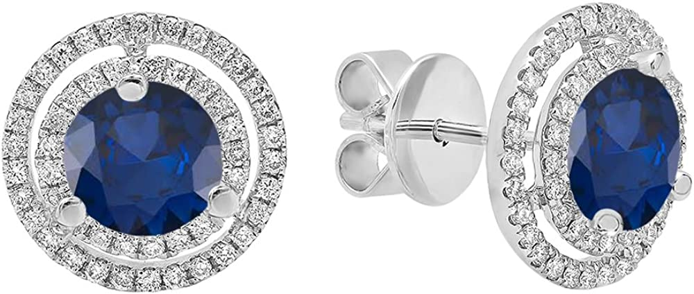 DazzlingRock Collection 18k Oro 6MM Cada Piedra Preciosa y Diamantes Mujer Doble halo Stud Pendientes Zafiro Azul
