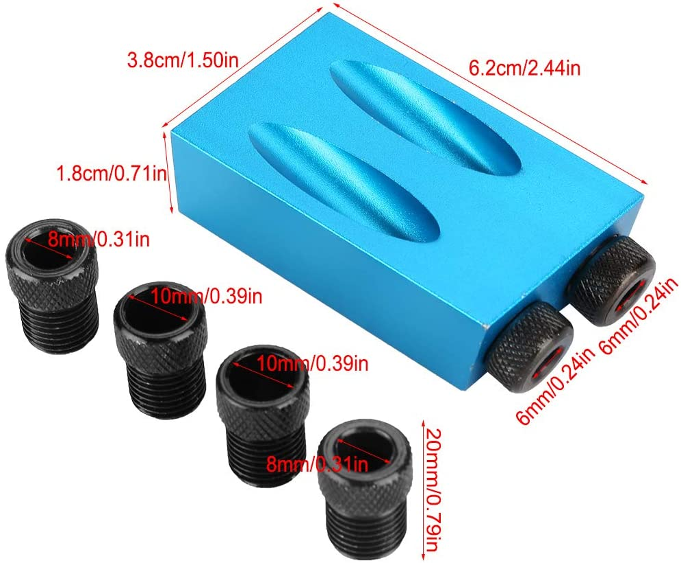 MAGT Aluminum Alloy 15 Degree Woodwork Guide Oblique Hole Positioner 6//8//10mm Woodwork Locator Blue Oblique Hole Positioner