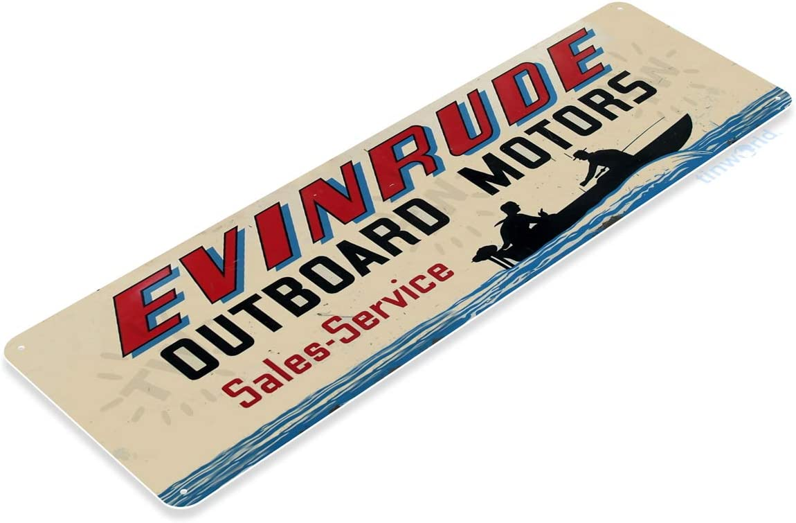 Amazon Com Tinworld Tin Sign Evinrude Outboard Motors Retro Boating Fishing Marina Store Metal Sign Decor B561 Home Kitchen