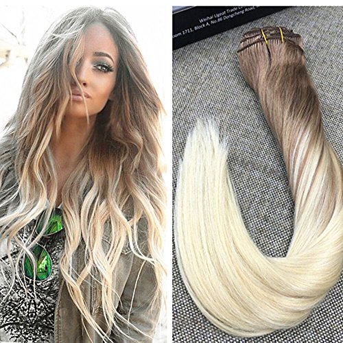 Ugeat 16quot Ombre Balayage Clip in Hair Extensions Two Tone Color 8 Dip Dye Color 613 Bleach Blonde Clip ins 100 Real Human Hair Clip in Blonde Ombre Color Extensions Hair