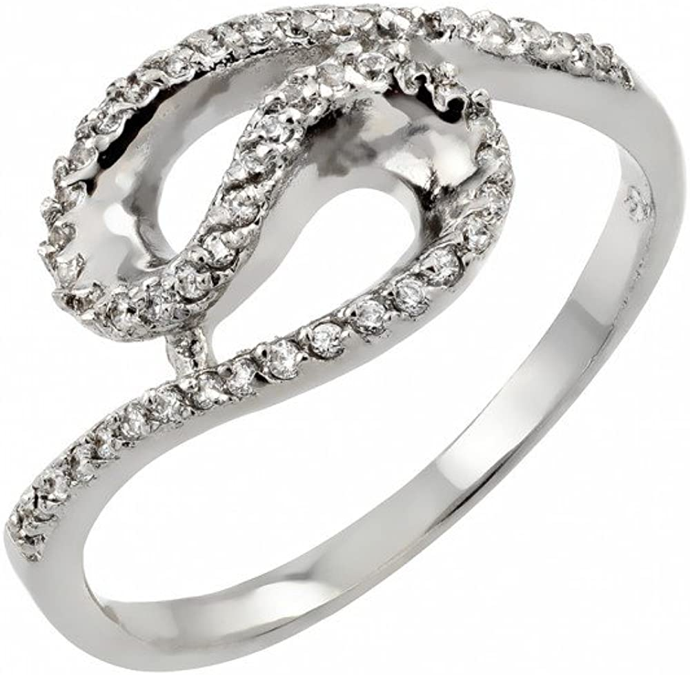 Clear Inlay Cubic Zirconia Loop Ring Rhodium Plated Sterling Silver