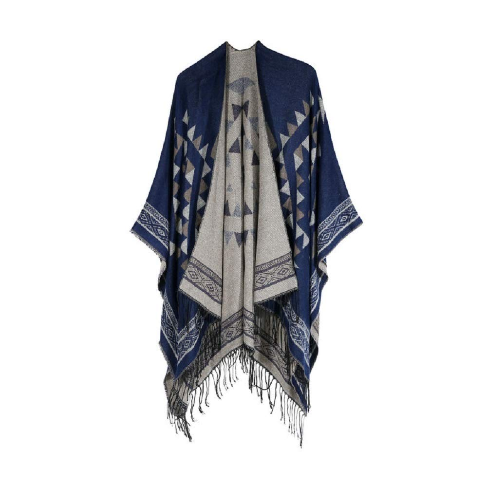 Excellent Women's Fall Winter Scarf Cloak Tassel Cape Mantle Scarf Strong Piano Kerchief Wrap Shawl Scarves (Color : Dark Blue, Size : 51.1 x 59.06 Inch') by Excellent