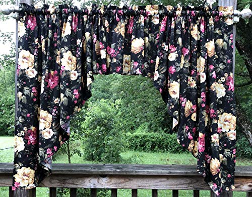 Black Cottage Rose Swags Valance Large Beautiful Pink Purple Cream Floral Flowers on Black Custom Sewn Handcrafted 3pc Curtain Swags Valance
