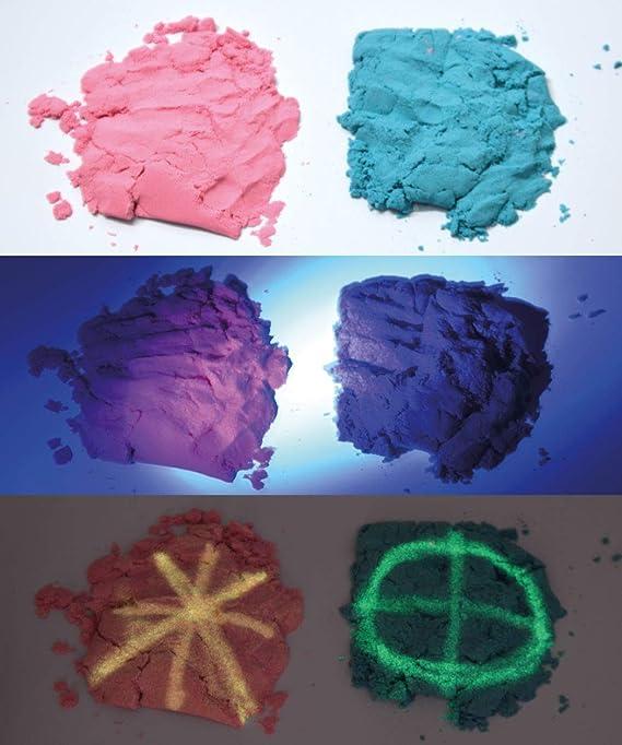 Arena mágica fosforescente para modelar. 800 gr. 2 Colores. con 6 ...