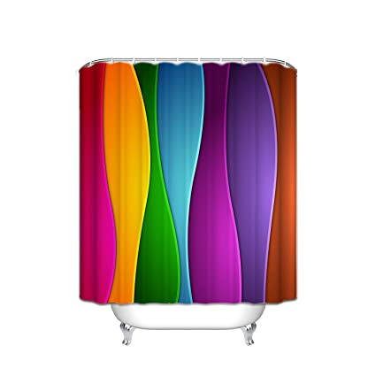 Amazon JANNINSE Modern Striped Shower Curtain Decor Polyester