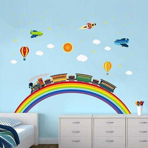 Ufengke Wandtattoo Regenbogen Zug Wandaufkleber Wandsticker Rakete Flugzeug Fur Kinderzimmer Jungen Schlafzimmer Wohnzimmer Amazon De Kuche Haushalt