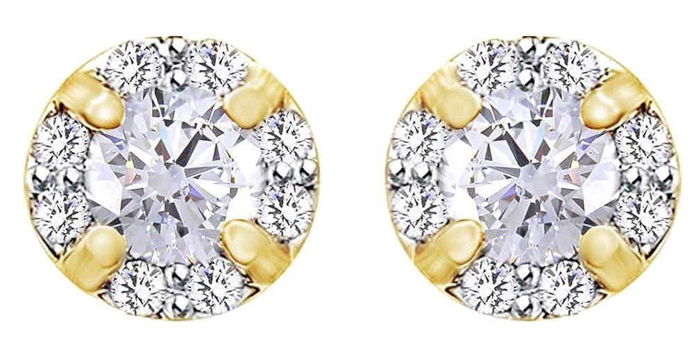 0,2 Karat Rundschliff Weißszlig; natürlicher Diamant Ohrstecker in 14 ct 585 Massiv Weißszlig; Gold 14 Karat (585) GelbGold