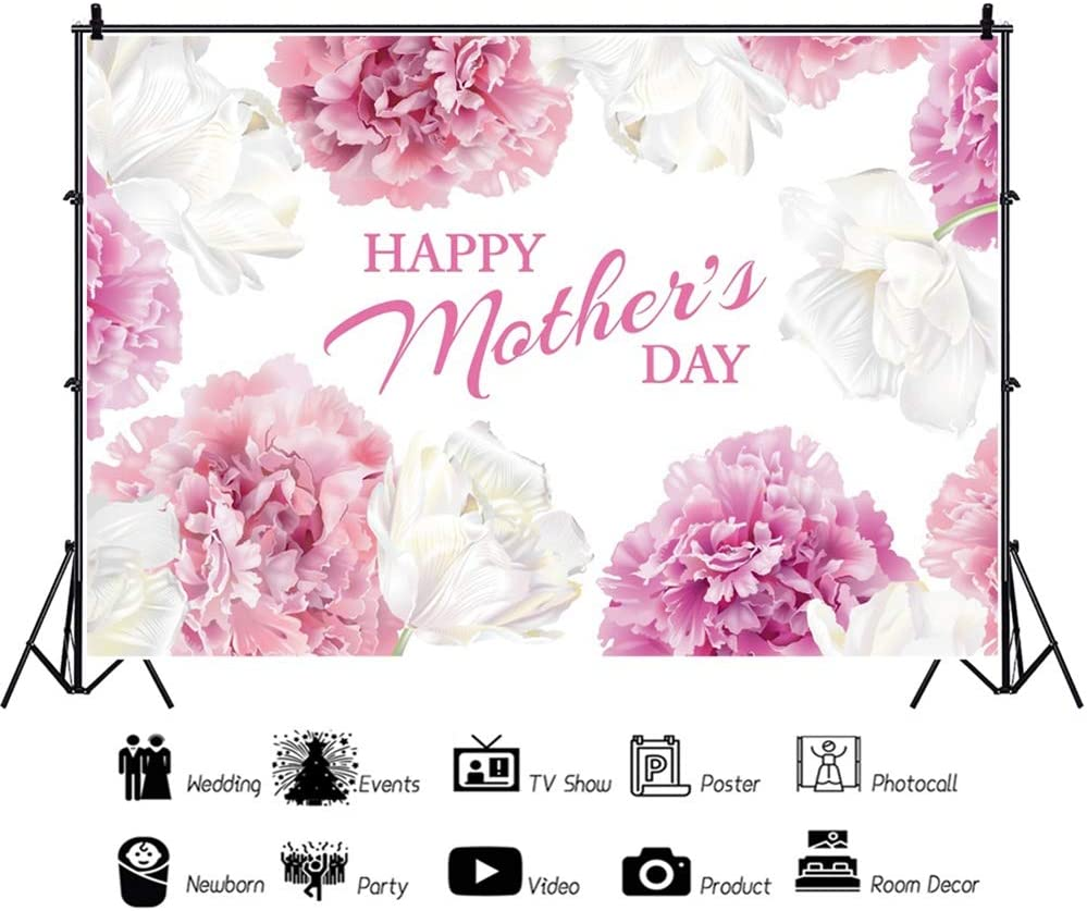 Leowefowa Happy Mothers Day Backdrop for Photography 10x8ft Vinyl Elegant White Pink Flowers Paintings Background Togetherness Photo Shoot Party Banner Wallpaper Studio Props