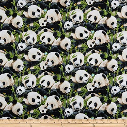 Elizabeth's Studio Panda Packed Bears Black, Fabric by the Yard