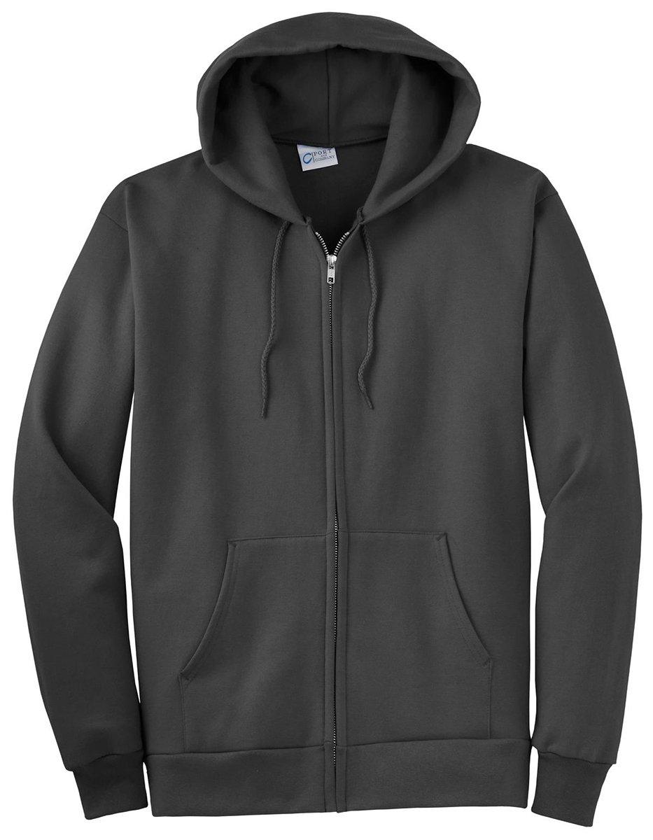 Port & Company Men's Big and Tall Full-Zip Hooded Sweatshirt Charcoal