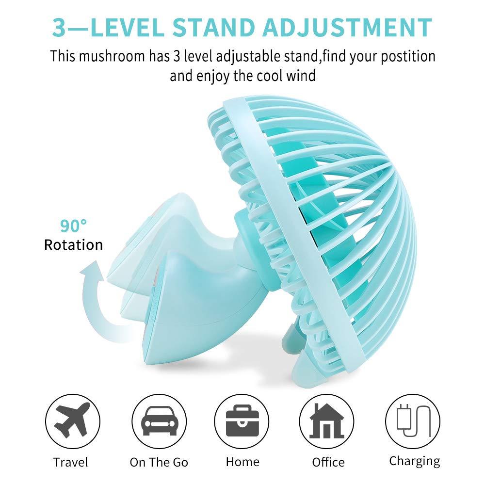 LBTbate Mini Desk Fan, Portable USB Fan Office&Desktop, Small Personal Cooling Fan, Mushroom Design Fan Table Desktop Electric Fan for Office Home Outdoor (Green)