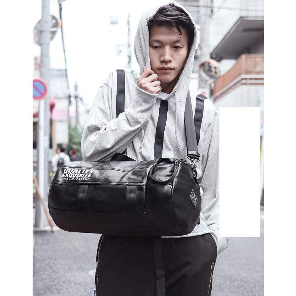 ZHICHUANG Fitness Bag Black Large Size: 462424cm Travel Duffel Bag for Men and Women Male Cylinder Travel Bag Travel Large Capacity Luggage Travel Bag
