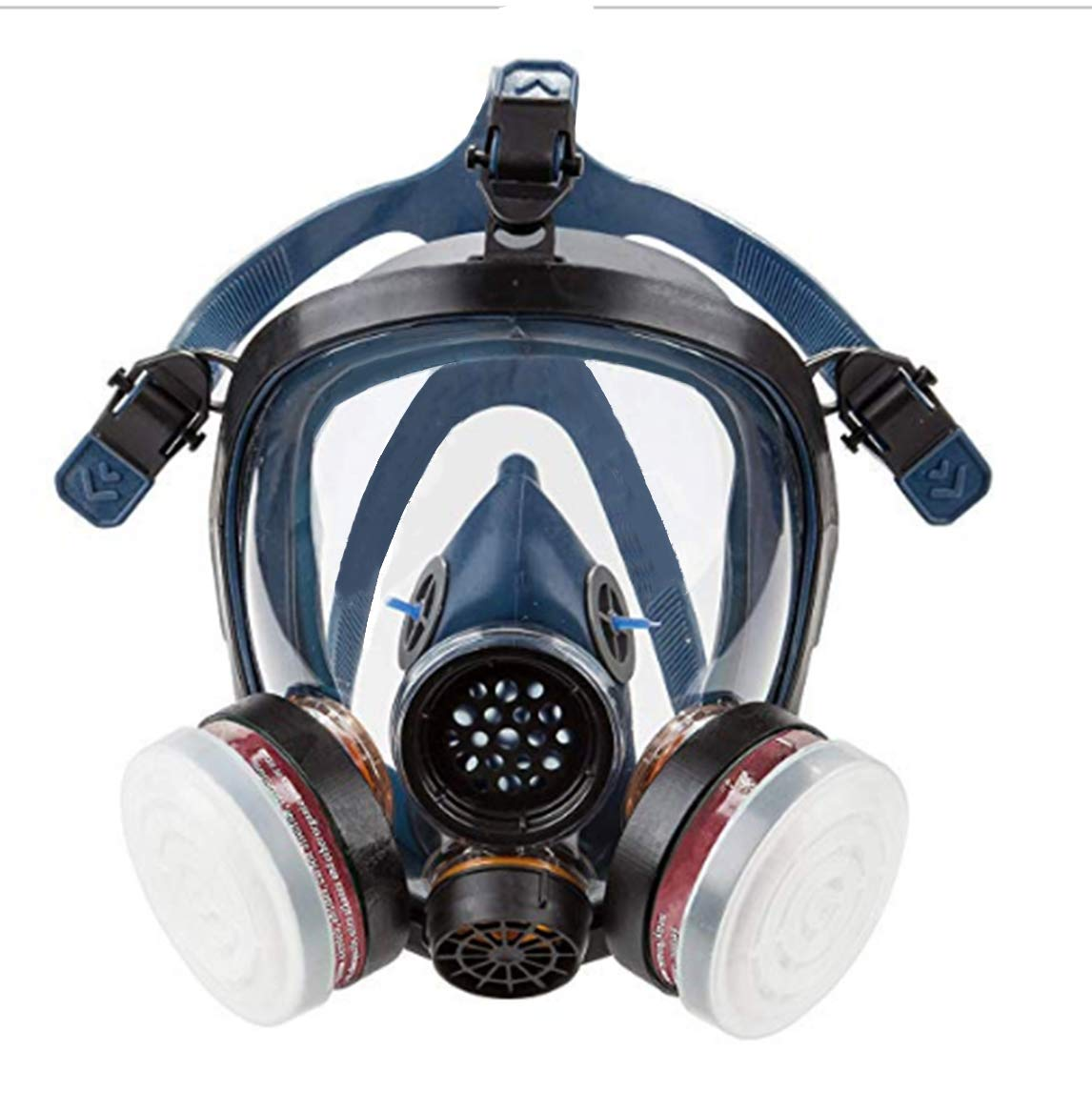 Full Face Organic Vapor Respirator Gas Mask for Paint Pesticide Chemicals Fire Smoke Dust Breathing Protection (Respirator +1 Pair LDY3 Cartridge)