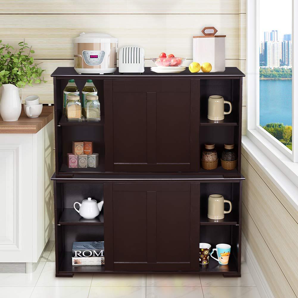 WATERJOY Kitchen Storage Sideboard, Stackable Buffet Storage Cabinet with Sliding Door Panels for Home Kitchen, Antique Brown by WATERJOY (Image #3)