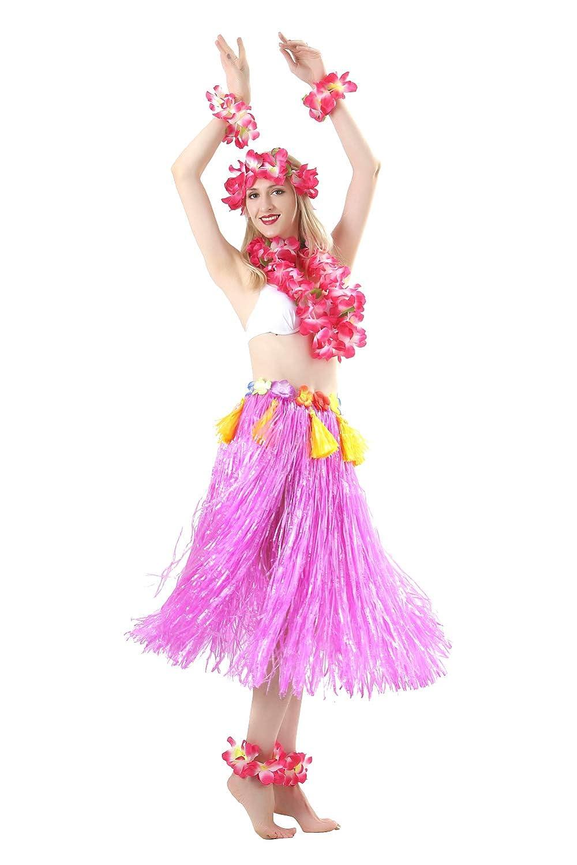 Maiheimoon 7 Pics//Set Hawaiian Hula Skirt Grass Double Layer Thickened Dancing Skirt for Hula Beach Party