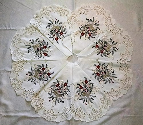 DoilyBoutique Christmas Tree Skirt Embroidered with Silver Bells 36 inches Handmade - Embroidered Christmas Tree Skirt