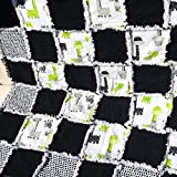 Modern black green and grey baby rag quilt