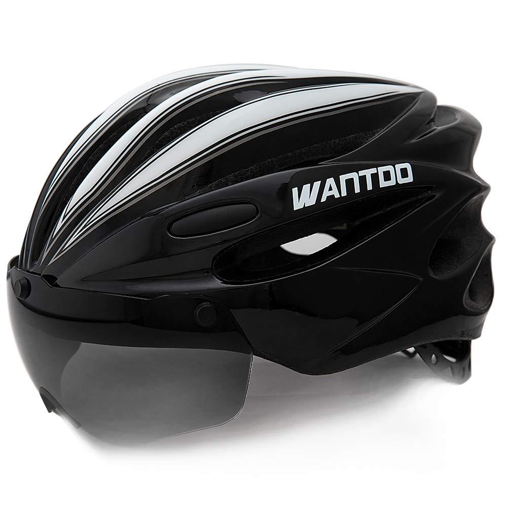 Wantdo Bike Helmet with Removable Magnetic Goggles Visor Mountain Road Bicycle Helmet Adjustable Adult Cycling Helmet BMX Helmet for Men Women Youth by Wantdo