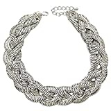 Silver Plated QQ Fashion Vintage Gold Egyptian Cleopatra Style Bold Snake Braided Chain Statement Bib Necklace,19.7''