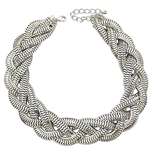 Silver Braided Necklace (Silver Plated QQ Fashion Vintage Gold Egyptian Cleopatra Style Bold Snake Braided Chain Statement Bib Necklace,19.7