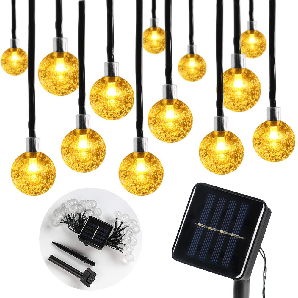 Ubrov Globe Solar String Lights 30 LED 21 ft 8 Mode Warm White Outdoor Crystal Ball Waterproof Solar Powered Patio Lights for Xmas Tree Garden Home Lawn Wedding Party Holiday…