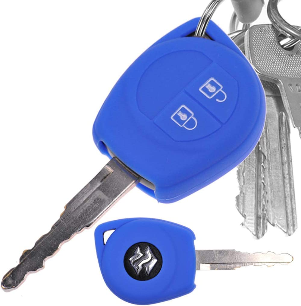 Auto Schlüssel Hülle Silikon Schutz Cover Blau Kompatibel Mit Opel Agila B Nissan Pixo Suzuki Alto