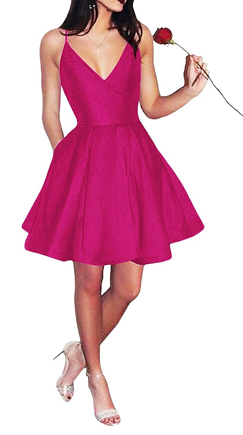 Fuchsia SkirtsFirst Short Spaghetti Straps VNeck Aline Satin Homecoming Dress with Pockets