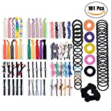 Hair Ties for Women - 101 PCS Natural Curly Hair Bands Rope Assorted (15 Styles ) Colored Thick Hair Elastic Bands Ribbon No Crease Ponytail Holders
