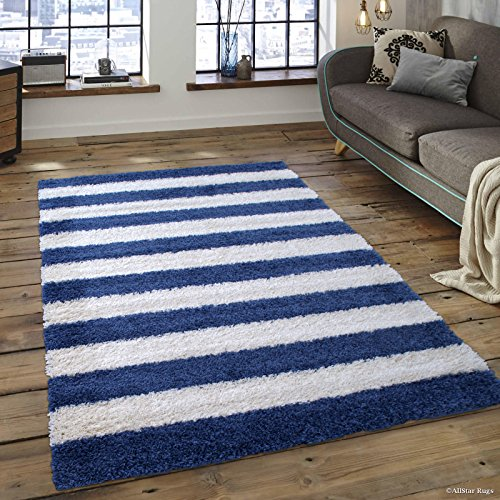 (Allstar 5 X 7 Ocean Blue with White High Pile Posh And Shaggy Striped Area Rug (5' X 7') )
